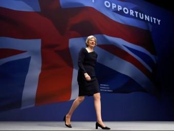 La ministra de l'Interior, Theresa May,en el congrés del Partit Conservador britànic que té lloc a Manchester