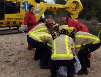 Efectius del GRAE i del GEM dels Bombers durant el rescat, aquest dimarts a Tivissa Foto:BOMBERS DE LA GENERALITAT