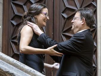 El president de la Generalitat Valenciana, Ximo Puig, i la vicepresidenta, Mónica Oltra, al Palau Foto:AGÈNCIES