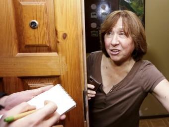 Svetlana Alexijevich, ahir, a casa seva a Minsk, on viu després d'haver viscut a BerlínREUTERS/Vasily Fedosenko