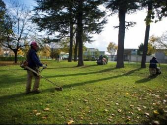Personal de la brigada de jardineria de la Fundació Drissa, al parc hospitalari de Salt.