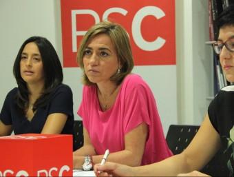 Niubó i Chacón, ahir a la seu del PSC on es van reunir amb representants locals d'ensenyament del partit Foto:ACN