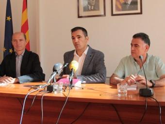 Vilà, Motas i Muñoz, ahir, fent balanç dels primers cent dies de govern a Sant Feliu Foto:E.A
