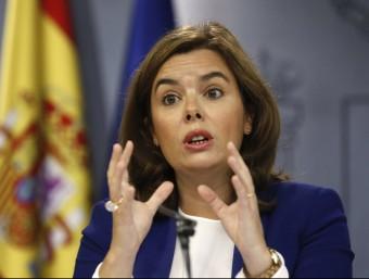 Santamaría, durant la roda de premsa d'aquest divendres posterior al Consell de Ministres Foto:EFE