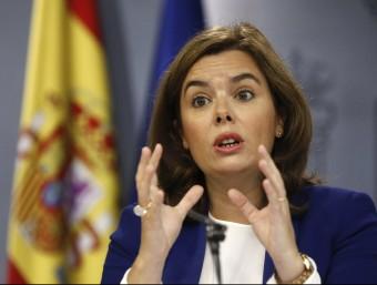 La vicepresidenta Soraya Sáenz de Santamaría, ahir, a La Moncloa Foto:EFE