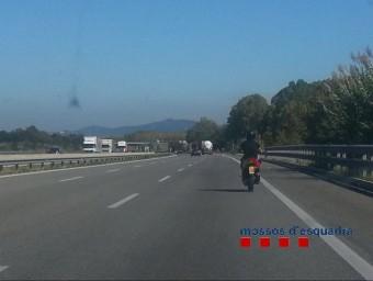 L'acusat va ser interceptat pels Mossos a l'alçada del quilòmetre 71,5 de l'autopista, a Vilablareix. Foto:CME