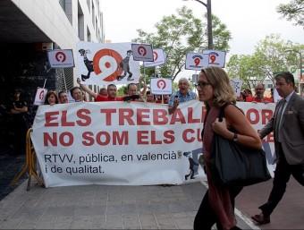 Protesta als jutjats dels extreballadors de RTVV. Foto:ACN