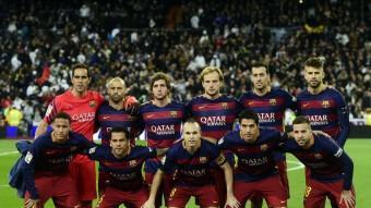 L'onze inicial del Barça que va meravellar al Santiago Bernabéu i que ensorrar el Real Madrid. I Messi era a la banqueta, tot i que va lluir. Foto:AFP