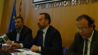 Josep Maria Cervera , Manuel Toro i Joaquim Puig van presentar ahir els pressupostos 2016 del Consell Foto:E. C