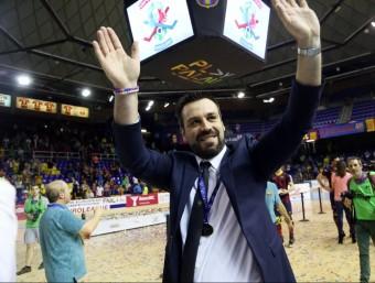 Ricard Muñoz celebra el títol europeu 2013-2014 al Palau Blaugrana Foto:QUIM PUIG
