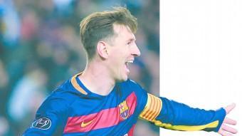 Leo Messi celebra amb alegria un dels dos gols que va marcar contra la Roma Foto:AFP
