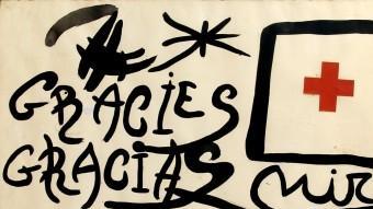 """El quadre """"Gràcies/Gracias"""" de Joan Miró és la peça estrella de l'exposició benèfica Foto:MAYORAL"""