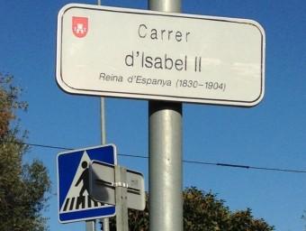 Placa del carrer d'Isabel II de Palafrugell, una de les referències borbòniques del nomenclàtor local Foto:J.PUNTÍ