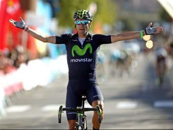 Alejandro Valverde, celebrant el triomf a Valls. Foto:EFE