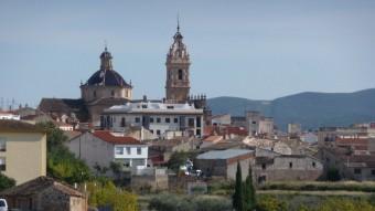 Vista de Xelva des de la carretera que la uneix amb la vila de Titaigües. Foto:ESCORCOLL