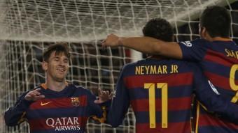 Messi, Neymar i Suárez, el fantàstic trident del Barça, durant el partit contra la Real Sociedad Foto:REUTERS