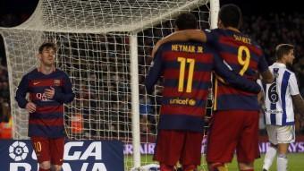 Els gols de Neymar i Suárez han aguantat el Barça darant la lesió de Messi. Contra la Real els dos primers el vna buscar amb insistència. Foto:REUTERS