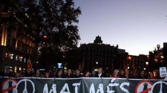 Capçalera de la manifestació 'Mai Més' a Barcelona Foto:ACN
