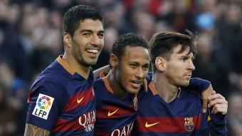 Suárez, Neymar i Messi en el partit de dissabte contra la Real Sociedad. Foto:EFE