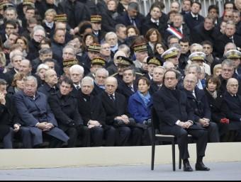 Hollande, durant l'acte d'homenatge a les víctimes Foto:REUTERS