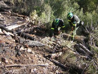 Els Agents Rurals cercant proves per determinar la causa de l'incendi forestal que va afectar dimecres a Alcover Foto:EPN