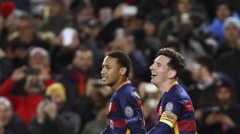 Els blaugrana Neymar Jr. i Leo Messi, dimarts passat en el partit contra la Roma Foto:EFE