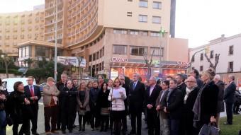 Inauguració de la plaça de la Unesco , la rotonda situada a la capçalera del circ, amb motiu dels 15 anys de la Declaració de Tarraco com a Patrimoni Mundial de la Humanitat Foto:A.LLORENS