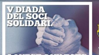 el cartell promocional de l'edició d'enguany, que coincideix amb la visita del Villanovense, i una acció de l'edició de l'any passat, contra l'Osca. Foto:FCB/E