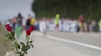 Unes roses recorden les víctimes a la carretera N-340, a Camarles. Foto:J.C.LEÓN /ARXIU