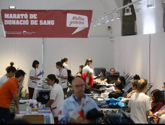 Imatge de la última marató de donació de sang que es va fer a Girona, a la Casa de Cultura. Foto:MANEL LLADÓ