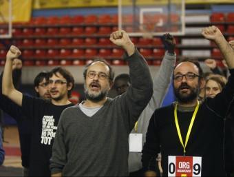 Antonio Baños, durant l'assemblea d'ahir de la CUP a Manresa