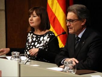 Artur Mas i Francina Armengol, ahir, durant l'acte oficial de l'Any Llull al Palau de la Generalitat Foto:ACN