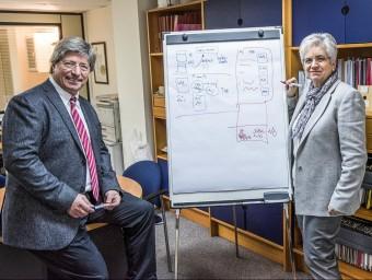 Lluís Blanch, soci fundador, a l'esquerra, i Eulàlia Clos, consellera delegada, a la dreta.  Foto:JOSEP LOSADA