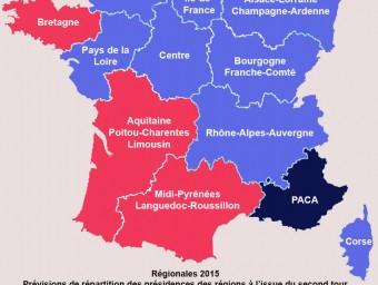 Previsió del resultat electoral de les 12 regions (font: Slate.fr)