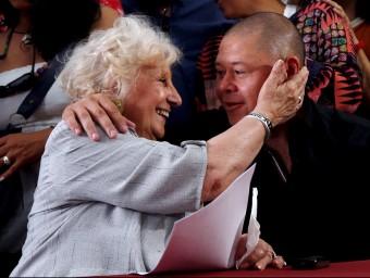 Bravo, ahir, amb Estela de Carlotto, presidenta de les Abuelas de Plaza de Mayo Foto:REUTERS