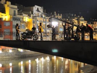 Imatge del rodatge d'una pel·lícula, a Girona.  Foto:ARXIU
