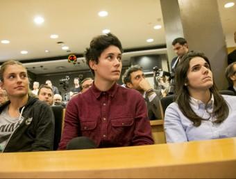 Alèxia Putellas, Laura Ràfols i Andrea Pereira, a la presentació del partit Foto:ALBERT SALAMÉ