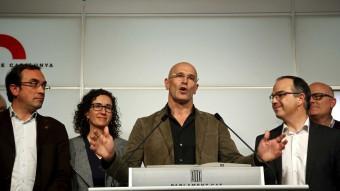 Diputats de Junts pel Sí en una compareixença del grup al Parlament de Catalunya. Foto:EFE