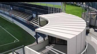 Imatge virtual de com quedaria la coberta que caldria fer per millorar les instal·lacions del bar del a UEF. Foto:FACEBOOK UEF