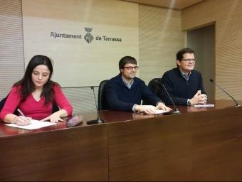 Sirvent (CUP), Matilla (Tec) i Albert (ERC) en la roda de premsa conjunta d'ahir al matí Foto:J. ALEMANY