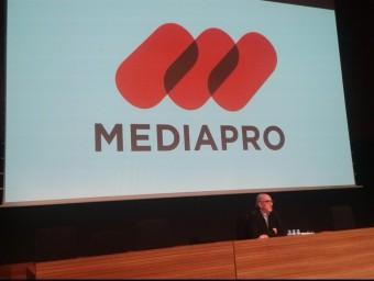 Jaume Roures durant la seva compareixença d'ahir al matí, a la seu de Mediapro Foto:EUROPA PRESS