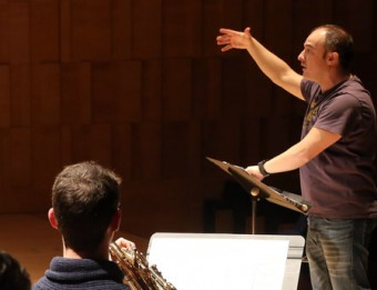 La Jove Orquestra Auditori de Girona, assajant ahir el concert Foto:MANEL LLADÓ