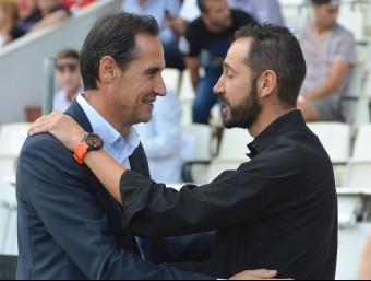 Vicente Moreno i Pablo Machín, en el duel de la primera volta a Tarragona. Foto:EDUARD DURAN