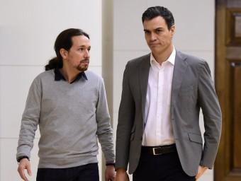 Pablo Igleesias i Pedro Sánchez , ahir, al Congrés dels Diputats Foto:AFP