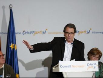 Artur Mas, president de CDC, durant la seva al·locució en el Consell Nacional del partit Foto:ALEJANDRO GARCÍA / EFE