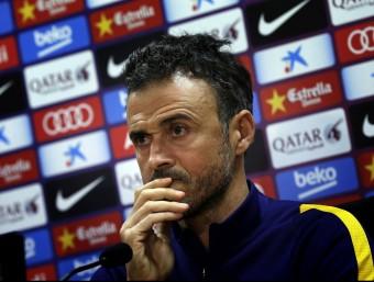 Luis Enrique, durant la roda premsa d'aquesta tarda a la ciutat esportiva Foto:EFE