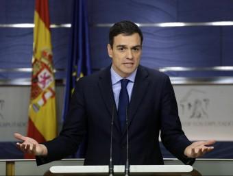 Sánchez, durant una roda de premsa des del Congrés Foto:EFE