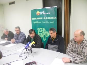 Joan Caball i altres membres d'Unió de Pagesos a les comarques gironines. Foto:U.C