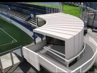 Imatge virtual de com quedaria el local social que es proposa a l'estadi de Vilatenim de Figueres. Foto:ARXIU