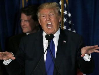 Trump, durant el discurs d'aquesta nit davant dels seus seguidors Foto:REUTERS
